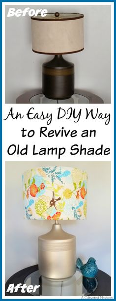 """I had this ugly old lamp that really needed an update. Check out my easy DIY way to revive an old lamp with a """"new"""" shade and some paint! The lamp looks so much better now! Square Lamp Shades, Old Lamp Shades, Small Lamp Shades, Rustic Lamp Shades, Modern Lamp Shades, Table Lamp Shades, Pottery Barn, Consoles, Pink Lamp Shade"""