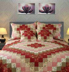 Tache 3-5 Piece 100% Cotton Red Sweetheart Diamond Patchwork Quilt Set, Multi