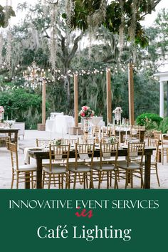 No wedding or event is complete without café lighting! Café lights create a warm, inviting ambiance that you and your guests are sure to adore. Reach out to our innovative team today to start planning your wedding lighting! #CafeLights #CafeLighting #OutdoorLighting #WeddingLighting #WeddingLights #EventLighting #WeddingReception #Wedding #Reception #Charleston Intimate Wedding Reception, Romantic Wedding Decor, Perfect Wedding, Rustic Wedding, Wedding Decorations, Event Lighting, Cafe Lighting, Wedding Lighting, Bistro Lights