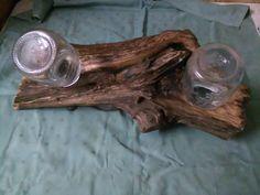 lampadario a due luci realizzato con tronco di ulivo