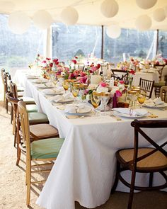 Martha Stewart Weddings   Real Wedding: Jenny and Ben, Sonoma, California  The Reception    Inside the tent, tables were set with a trio of different chairs and mismatched votive candles and centerpiece vessels.