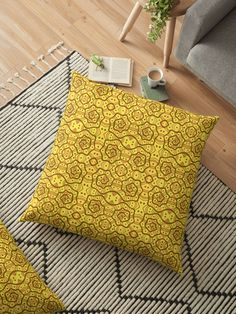 Helices, yellow & brown abstract pattern Floor Pillows by Clipsocallipso Worldwide shipping  Brown helices and dots on shining yellow background. Seamless abstract hand drawn arabesque pattern.   © Clipso-Callipso / Julia Khoroshikh  #yellow #brown #yellowandbrown #helices #arabesque #pattern #abstract #curves #patterndesign #clipsocallipso #printshop #textiledesign #apparel  #yellowaesthetic #redbubble  #pillows #cushion #homedecor #supportartist