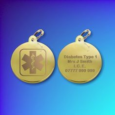 Gold Plated Medic Alert or I.C.E tag DISC (Small)