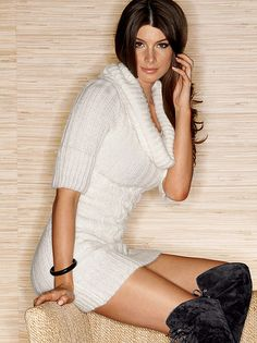 Cowl Neck Sweater Dress, Cowl Neck Sweater Dress White - Fredericks of Hollywood