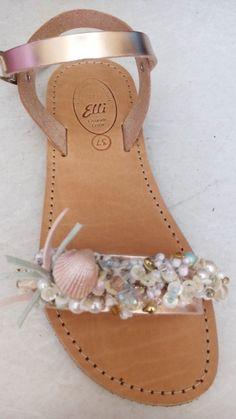 Handmade leather sandals designed by Elli lyraraki