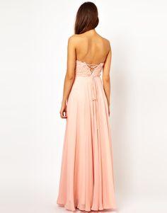 Forever Unique Applique Flower Bandeau Maxi Dress