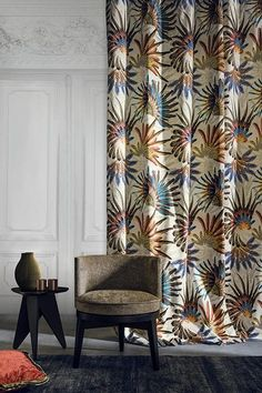 Touraco Fabric by Casamance Decor, Soft Furnishings, Interior, Tropical Fabric Prints, Home Decor, Curtains, Patterned Sheets, Furnishings, Measuring Curtains