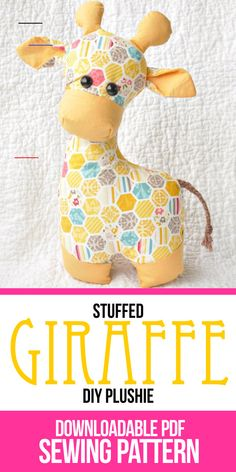 Gerald the Giraffe Sewing Pattern, Softie Pattern, Stuffed Animal, plush toy, PDF sewing pattern, - #sewingtoys - Learn how to make small round fabric baskets with our free sewing pattern. Cute DIY trinket baskets with Liberty of London Fabric.... Giraffe Stuffed Animal, Giraffe Toy, Sewing Stuffed Animals, Stuffed Animal Patterns, Stuffed Animal Diy, Giraffe Crafts, Crochet Giraffe Pattern, Softie Pattern, Animal Sewing Patterns