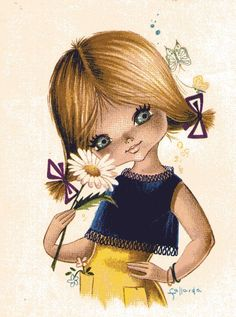 Big Eyed Girl with Daisy, Vintage postcard by Gallarda by PrettyPostcards Decoupage Vintage, Vintage Ephemera, Vintage Postcards, Vintage Images, Vintage Art, Cartoon Pics, Cartoon Drawings, Vintage Girls, Vintage Children