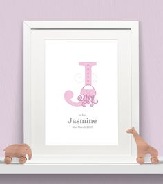 Personalised Animal Letters Girls Baby Print
