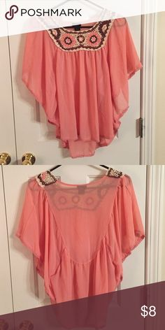 Pink chiffon top Never worn Rue21 Tops Blouses