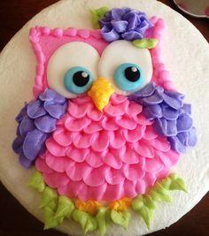 Owl Baby Shower Cake by Susanna Bard - Eulentorten usw - Kuchen Ladybug Cakes, Owl Cakes, Cupcake Cakes, Fruit Cakes, Owl Cake Birthday, Owl Birthday Parties, Girl Shower Cake, Baby Shower Cakes, Fancy Cakes
