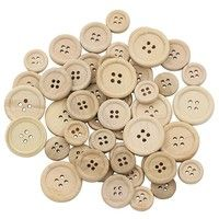 Specifications: Natural wooden color, different size. Features round shape and 4-holes, popular DIY
