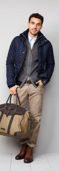 Consider teaming a navy quilted field jacket with beige jeans for a comfortable outfit that's also put together nicely. Polish off the ensemble with brown leather casual boots. Shop this look on Lookastic: https://lookastic.com/men/looks/field-jacket-zip-sweater-dress-shirt/15379 — Light Blue Dress Shirt — Grey Zip Sweater — Navy Quilted Field Jacket — Dark Brown Woven Leather Belt — Brown Leather Casual Boots — Beige Jeans