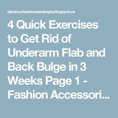 4 Quick Exercises to Get Rid of Underarm Flab and Back Bulge in 3 Weeks Page 1 - Fashion Accessories And Style