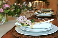 Spring dinner party table setting