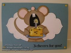 birthday mouse with slice of cheese birthday cake from the goggle greeting stamp set