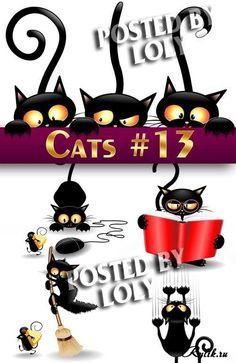 12d548e8b40d1 Забавные черные коты и котята - векторные рисунки. Black cats