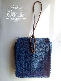 Crochet bags-purses-wristlet Leather strap handles