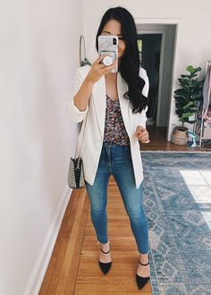 Business Casual Outfit for Women: White Blazer, Floral Cami, High Waisted Skinny Jeans, Black Pump Mules White Blazer Outfits, Floral Dress Outfits, Dresses, Business Casual Outfits For Women, Stylish Outfits, Cute Outfits, Colourful Outfits, Colorful, White Wide Leg Pants