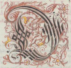 Calligraphy Tutorial, Calligraphy Envelope, Calligraphy Letters, Caligraphy, Illuminated Letters, Illuminated Manuscript, Medieval Books, Chalk Lettering, Letter Example