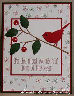 Christmas card ... luv Memory Box dies!!! ... reed bird in red ...