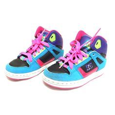DC kids colorful high tops Worn 3x to be exact, had to push my kid to wear it just so not to outgrow it quickly, my kid didn't like high tops. Size 11 for kids, no hole or rip or torn and a very cute and colorful sneakers, colors are pink, green, a tiny purple, black and blue and on the side of the shoes a little bit fade on the color or came off on the letter DC!. Thanks for looking and give me a reasonable offer don't be afraid to ask! DC Shoes Athletic Shoes