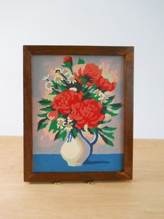 Vintage Paint By Numbers • Framed Flowers in Vase • Wood Frame Floral by lisabretrostyle2 on Etsy