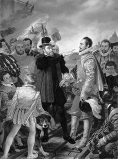 Philips II beschuldigt prins Willem van Oranje te Vlissingen bij zijn vertrek uit de Nederlanden in 1559, Cornelis Kruseman, 1832