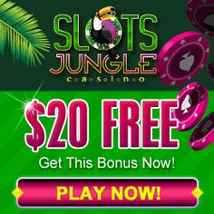 Slots Jungle Mobile Casino $20 No Deposit Bonus! Play on your favorite mobile device such as  Android (Galaxy model only), iPad, iPhone and iPod. To claim FREE CASH click pin! Like, Follow Us, Check our No Deposit Forum