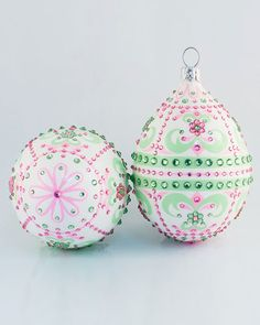 Josephine Pink & Green Egg by Patricia Breen Design Group at Neiman Marcus. Pink Christmas Ornaments, Green Christmas, Glass Ornaments, Christmas Tree Decorations, Christmas Time, Xmas, Traditional Christmas Tree, Pink Apple, Handmade Ornaments