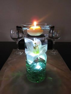 Floating Candle Centerpiece With Flower12