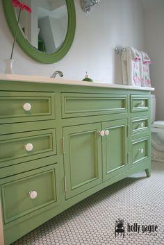 Light Green Bathroom With Darker Vanity For Second