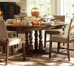 Great option for the Living Room/Dining Area.  Extends to fit perfectly and would look fun with the Greyson chairs.  Hayden Extending Pedestal Dining Table | Pottery Barn