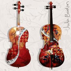 Juleez Hand Painted 4/4 Full Size Cello by Julie Borden Bach and Friends