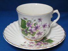 Violets-Old-Foley-Tea-Cup-Saucer-Set-of-3-Pattern-5173-Swirl-James-Kent-England