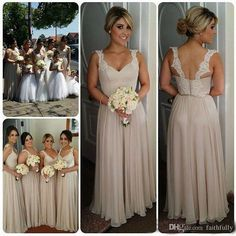 2017 Charming A Line Chiffon Bridesmaid Dresses Full Length Spaghetti Lace Straps Backless Evening Gowns Floor Length Maid Of Honor Gowns Brides Maid Dress Bridesmaid Dresses Adelaide From Faithfully, $101.84| Dhgate.Com