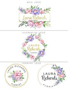 Floral logo branding kit Floral logo design Pink and purple