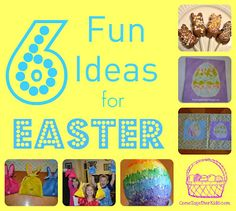 6 Fun ideas for Easter ~ chocolate covered peeps, melted crayon eggs, glue batik and cute bunny treat bags