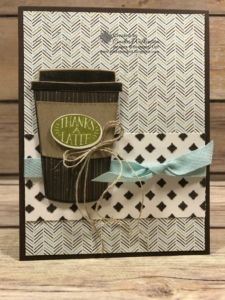 """Coffee Cafe Swap Cards – Just Sponge It! 3/8"""" Classic Weave Ribbon, Big Shot, Coffee Break dsp, Coffee Cafe Bundle, Embossing Paste, Linen Thread, Palette Tools, Pattern Party Decorative Masks, DIY, Stampin' Up!, Thank you"""