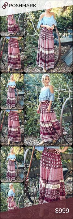 "Elasticized Waist Boho Maxi Skirt Midi Dress Combo Available in S, M, L Measurements from a S Length: 39"" Waist: 28""  NOTE: waistline has a 4.5"" elasticized band. Measurements taken unstretched. This is extremely accommodating. Small can stretch to approx. 40""  Cotton Blend  Features • soft, flowy material • relaxed, easy fit w/elasticized band waist • beautiful printed pattern throughout • can double as a sleeveless midi dress (see last photo for example in black combo)  Bundle discounts…"