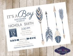 BABY SHOWER TRIBAL Invitation Pow Wow by TweetPartyBoutique