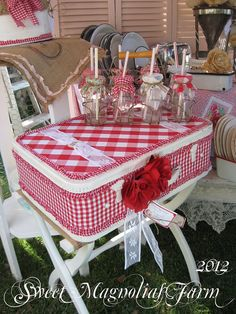 Now available in our Etsy Shop ...Sweet Magnolias Farm ..TVM 2012 Setup.. Red and White Gingham and Lace Covered Suitcase with Vintage Red Rose Millinary ..Still Available $68.00 + shipping Contact us for purchase ..