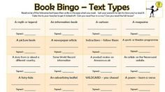 A reading bingo game to encourage children to read a variety of texts in line with the 2014 curriculum. Reading Bingo, Guided Reading, Teaching Reading, Text Types, Book Corners, Author Studies, Curriculum, Literacy, Books To Read
