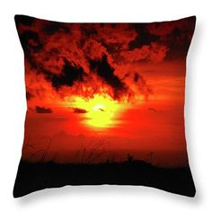 """Flaming Sunset 16"""" x 16"""" Throw Pillow by Christi Kraft, $45.  Multiple sizes available."""