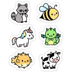 Buy 'Cute Animal Sticker Pack by littlemandyart as a Sticker, Transparent Sticker, or Glossy Sticker Stickers Kawaii, Cool Stickers, Printable Stickers, Laptop Stickers, Cute Easy Drawings, Cute Animal Drawings Kawaii, Homemade Stickers, Bubble Stickers, Journal Stickers