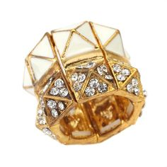 White and Gold Pyramid Stretch Ring  http://www.inspiredsilver.com/ #cocktailring #ring  #jewelry