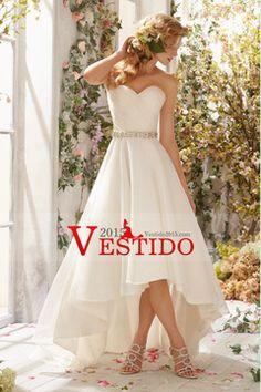 2014 cariño acanalada blusa Un vestido de boda con la Línea de Alta Baja Organza Falda con cuentas Cintura USD 159.99 VEPTMLPEAM - Vestido2015.com