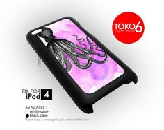 AJ 1026 kraken octopus pink watercolor - ipod 4 Case | toko6 - Accessories on ArtFire