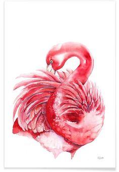 Pink Flamingo als Premium Poster von Karolina Kijak | JUNIQE